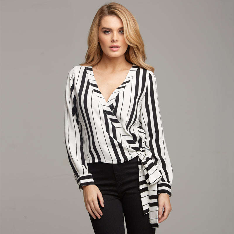 TIA WRAP STRIPE SHIRT - CT064