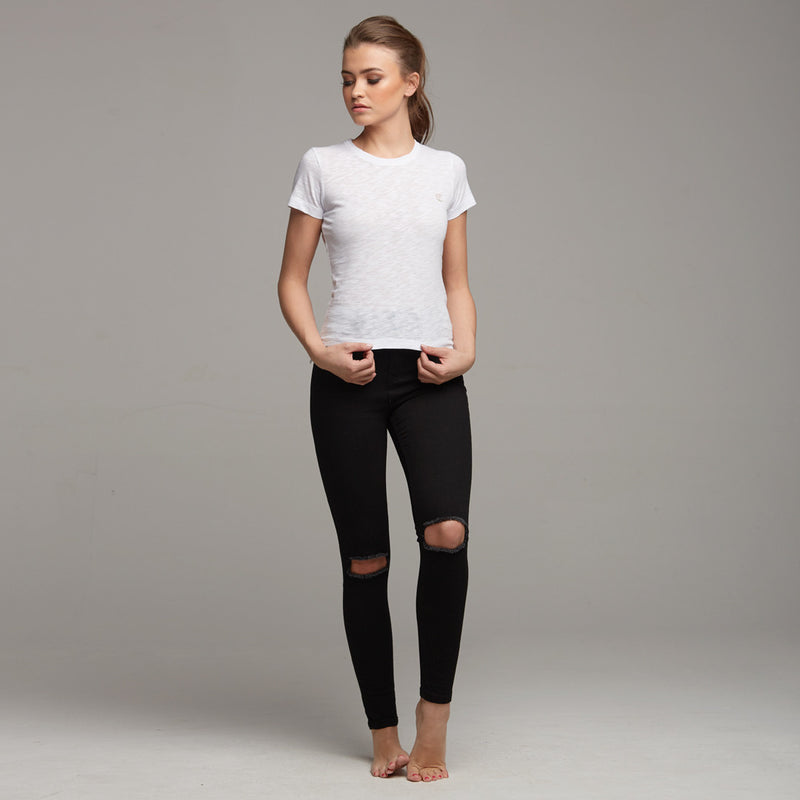 TEGAN WHITE SLUB TEE - CT051