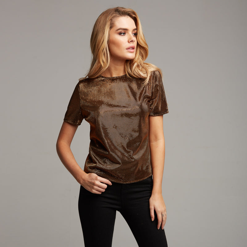 CARA BRONZE METALLIC BOXY TOP - CT067