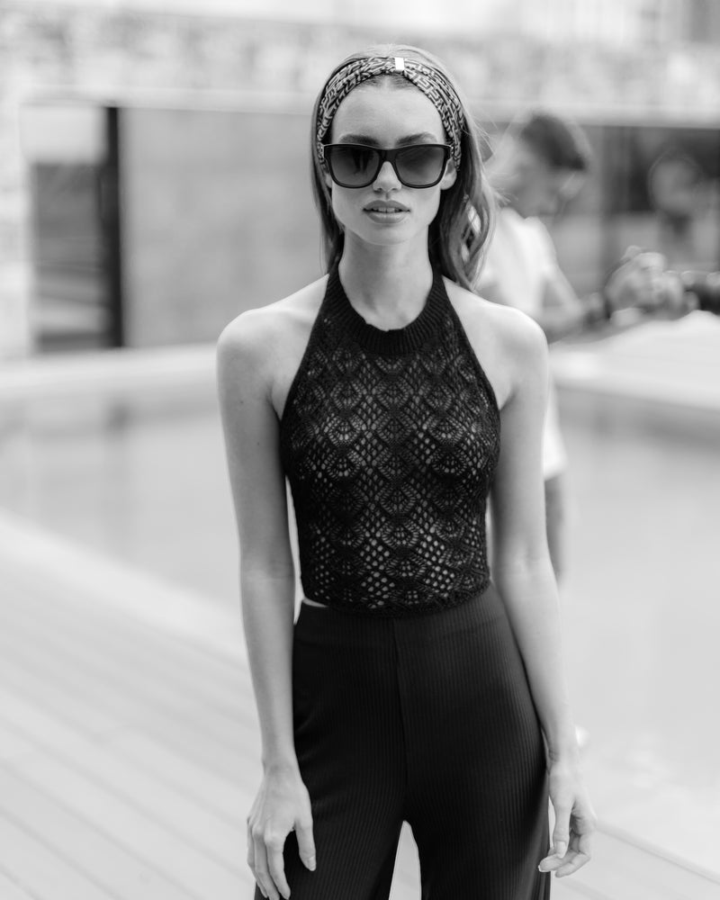 'FREYA' Black Knitted Crochet Halter Neck Tie Top - CTJ005