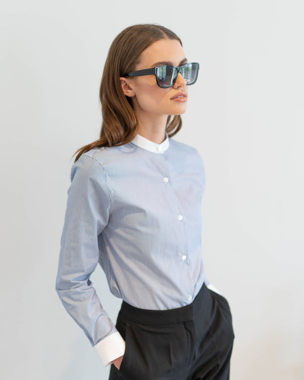 BLAIR CONTRAST COLLAR AND CUFF STRIPE SHIRT - CT030