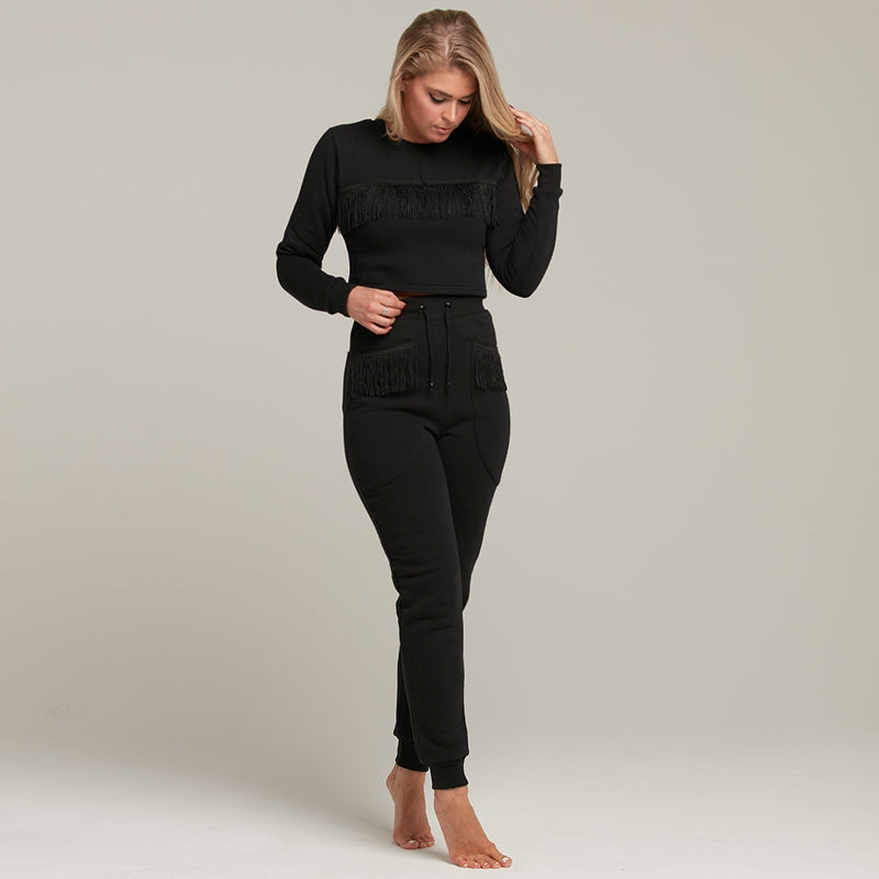 CAGGIE FRINGING DETAILED TRACKSUIT CROP - CT080