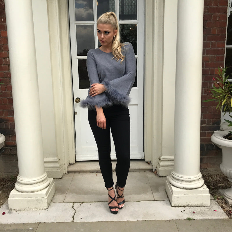 'DARCIE' Knitted Grey Jumper with Faux Fur Cuff - CT090