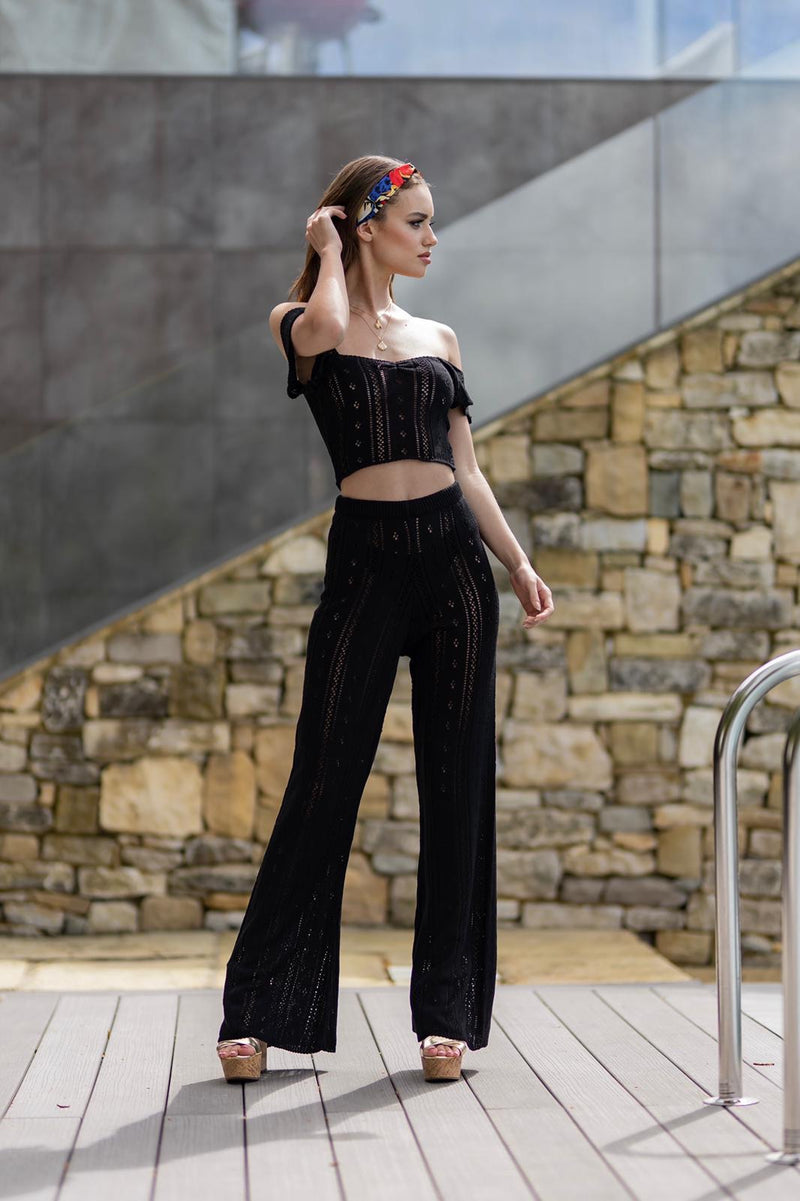 'AYLA' Knitted Co ord Crop top Black - CTJ007