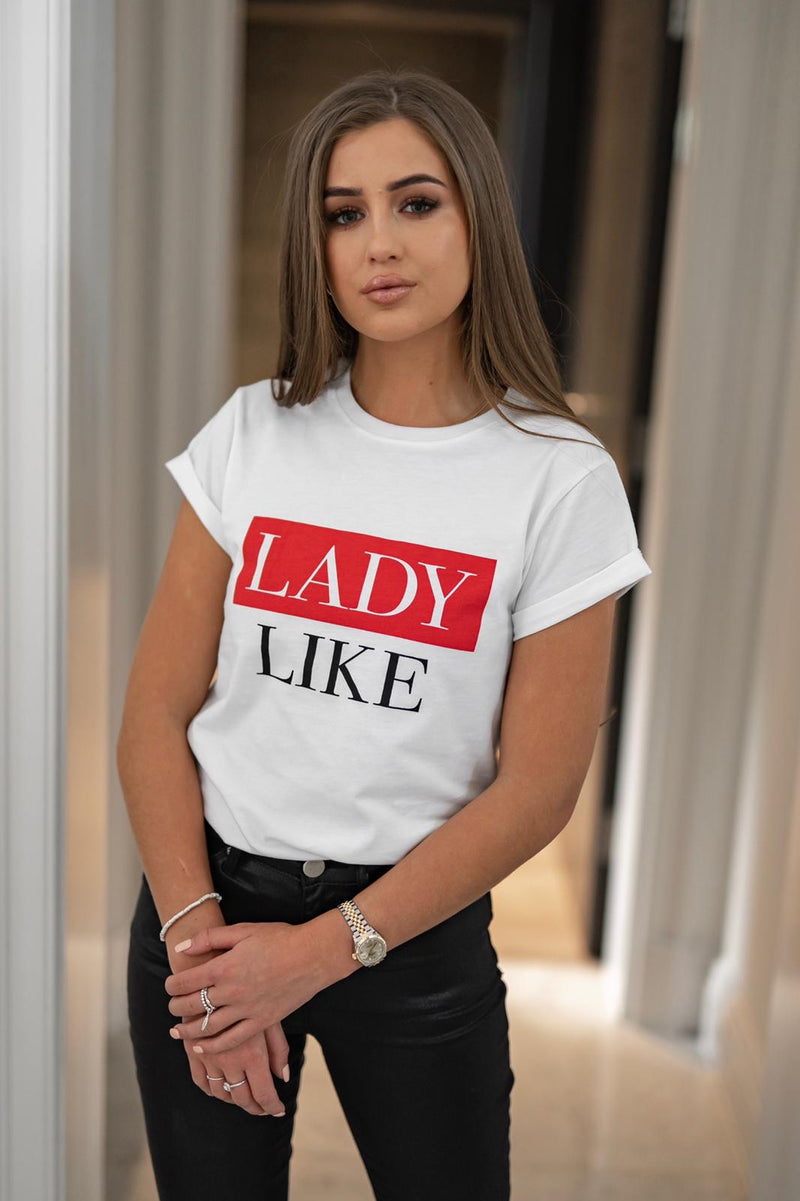 LADY LIKE - RED SLOGAN T SHIRT CT079