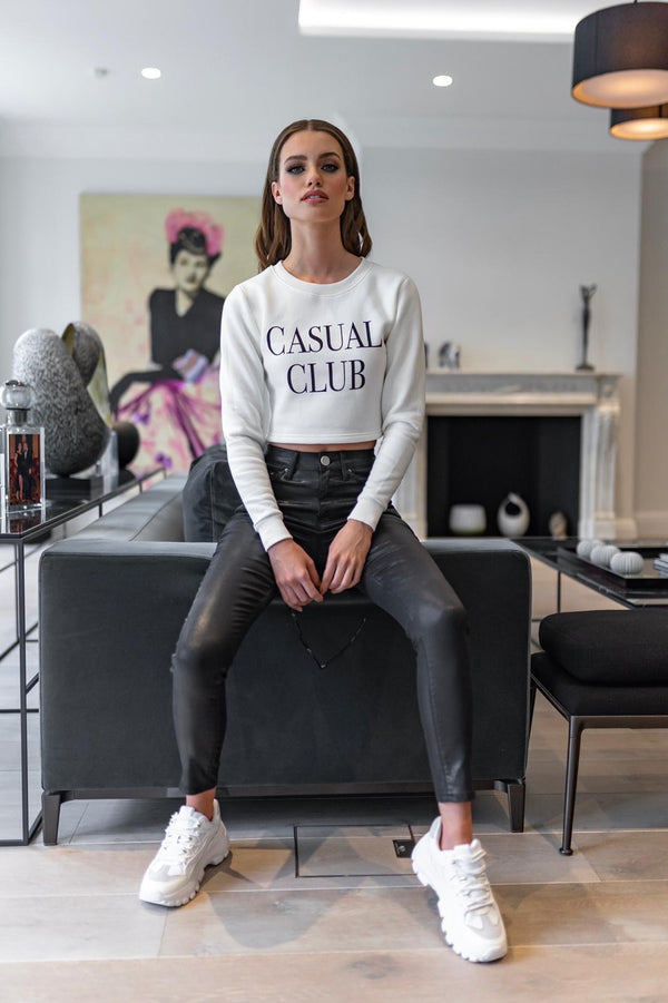 'CASUAL CLUB' ECRU CROP JUMPER - CT092