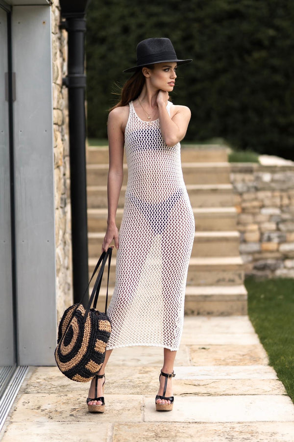 Zara Crochet Style Long Beach Dress Cream - CTJ013