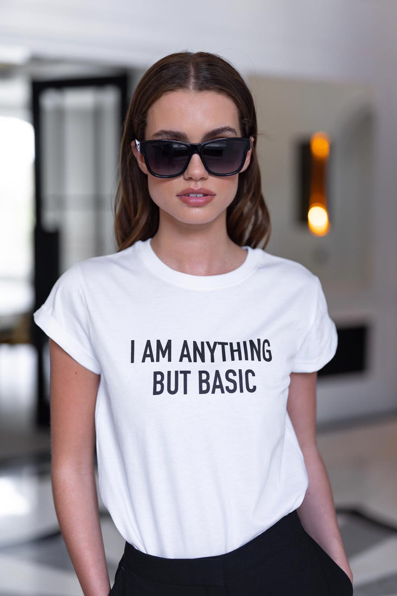 'I'M ANYTHING BUT BASIC' - CT098 WHITE SLOGAN T SHIRT