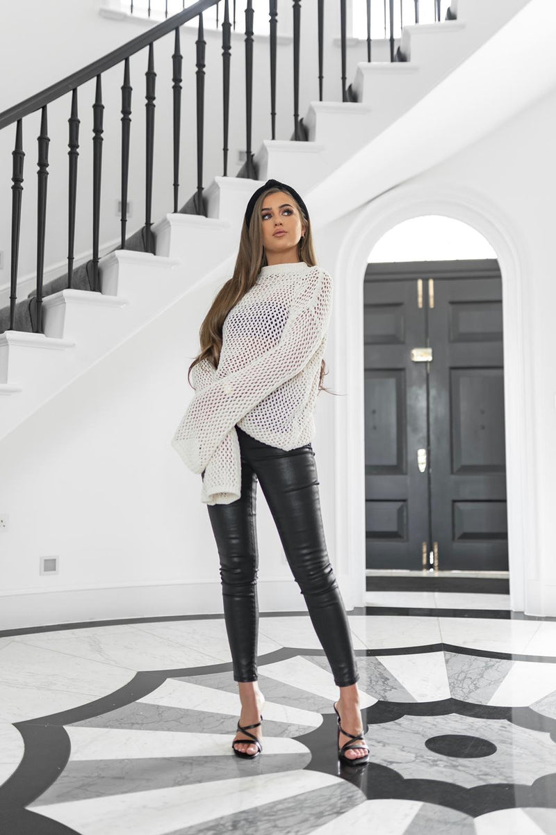 'GRACE' Crochet Style Jumper with Bell Sleeve Cream - CTJ016