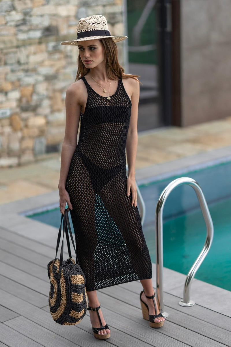 Zara Crochet Style Long Beach Dress Black - CTJ014