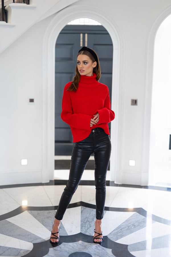 KENDALL KNITTED ROLL NECK JUMPER - CTJ001