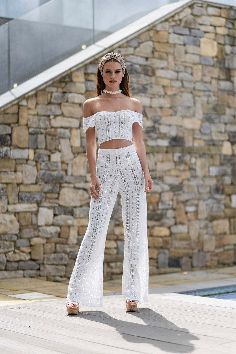 'AYLA' Knitted Co ord Trouser White - CTJ010