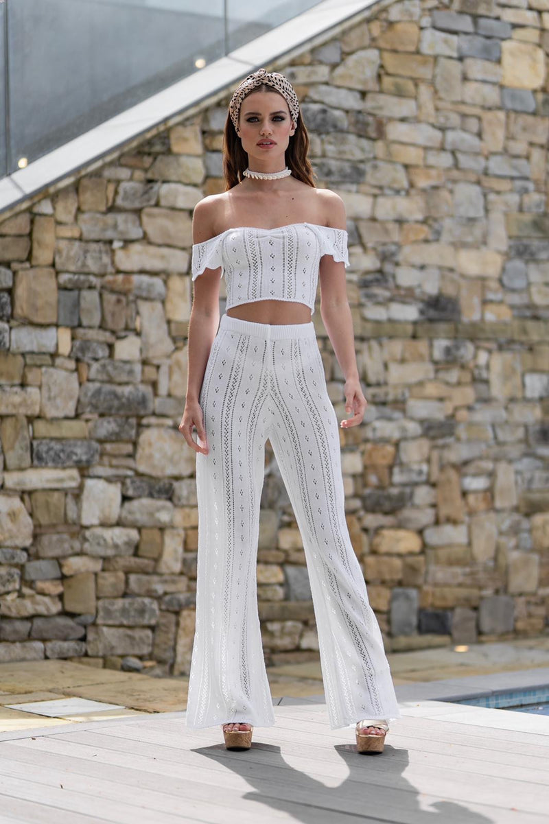 'AYLA' Knitted Co ord Crop top white - CTJ009