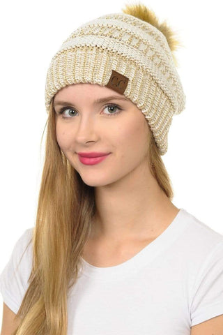 Taupe Slouchy Metallic Knit Beanie Hat
