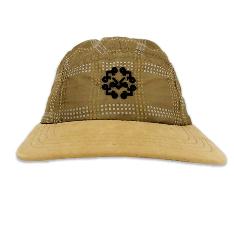 "Tan Silk with Suede leather bib 5 Panel Hat with ""Acrylic Clear Display Box"""