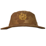 Brown & rose gold damask royal fabric 5 panel hat