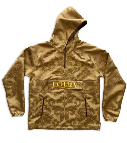 Brown Damask ROYAL Fabric Hoodie Windbreaker Pullover Jacket