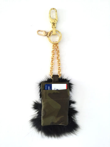 Green Camouflage Lambskin Fox Fur card holder Keychain