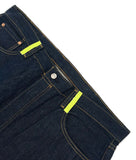 Custom blue Levi 501 denim jeans with neon yellow leather fringe