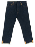 Custom blue Levi 501 denim jeans with brown leather fringe