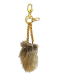 Black Lambskin brown Coyote Fur card holder Keychain