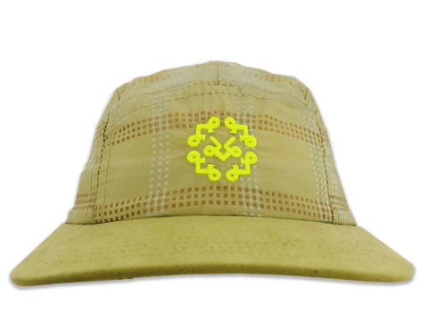 "Light olive green Silk with Suede leather bib 5 Panel Hat with ""Acrylic Clear Display Box"""