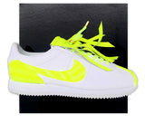 White & Neon yellow Custom Nike Cortez...