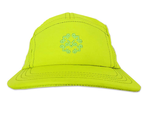 "Neon yellow lambskin leather 5 Panel Hat with ""Acrylic Clear Display Box"""