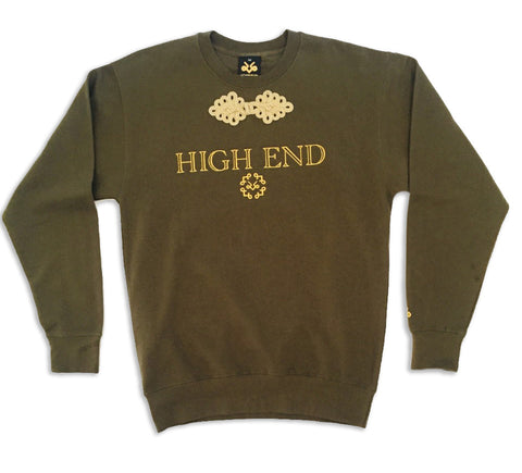 Military green crewneck HIGH END sweatshirt