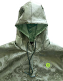 Green Damask ROYAL Fabric Hoodie Windbreaker Pullover Jacket