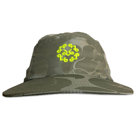 Spa green pasley polyester 5 panel hat