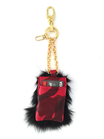 Red Camouflage Lambskin Fox Fur card holder Keychain