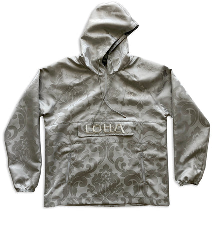 Silver Damask ROYAL Fabric Hoodie Windbreaker Pullover Jacket