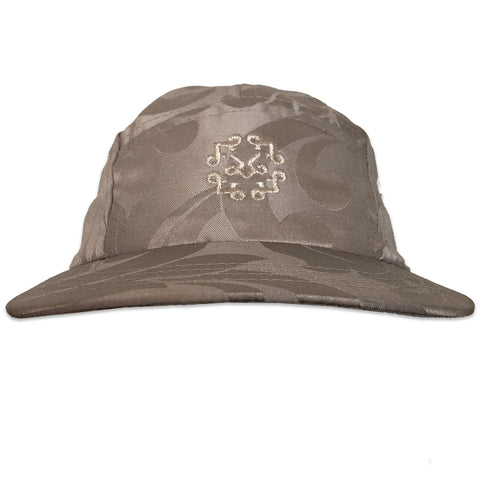 Silver damask royal fabric 5 panel hat