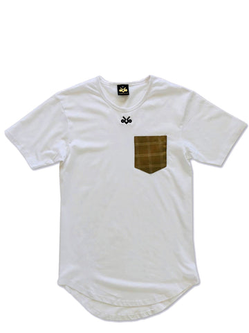 Tan silk pocket longated t-shirt