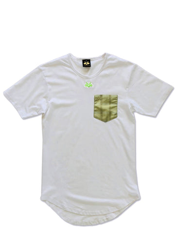 Light olive green silk pocket longated t-shirt