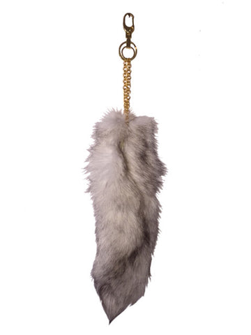 Off White Fox Tail Keychain