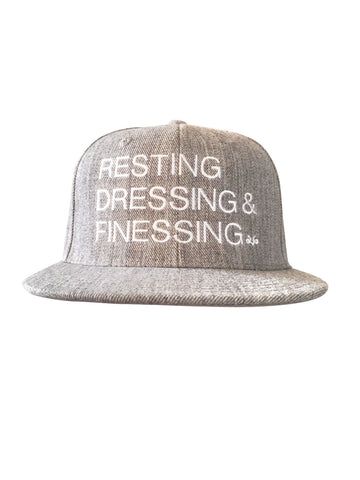 GREY & WHITE RESTING, DRESSING & FINESSING SNAP BACK HAT
