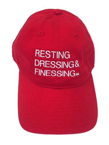 RED & WHITE RESTING, DRESSING & FINESSING DAD HAT