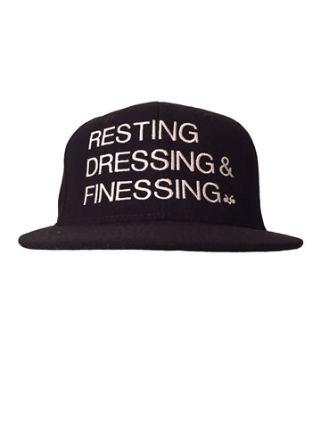 BLACK & WHITE RESTING, DRESSING & FINESSING SNAP BACK HAT