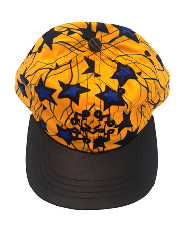 Blue Starred & Golden African Fabric Faux Leather Bib Dad Hat