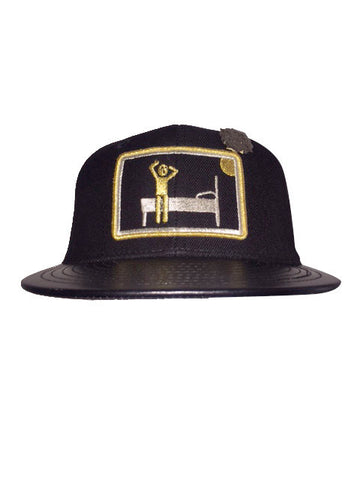 Black metallic gold & silver GET MONEY snap back with black leather bib and black pin.