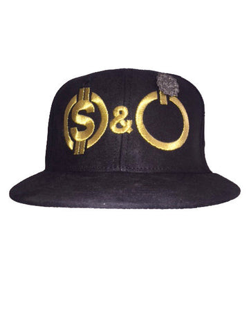 Suede Black & metallic gold MONEY & POWER snap back and black pin.