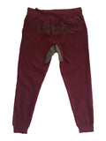 Burgundy & Grey Denim With Reflective Logo Jogger Pants