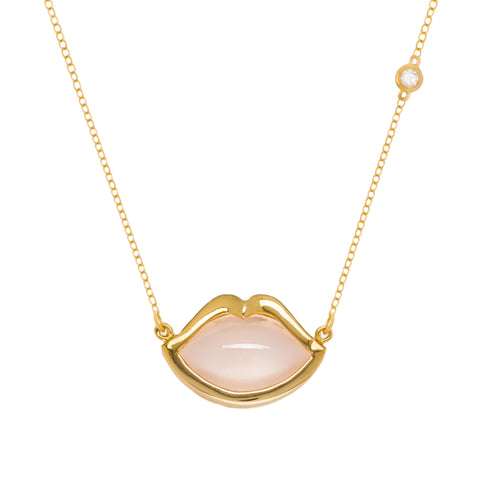 "18"" 'French Kiss' Lip Necklace in Rose Quartz"