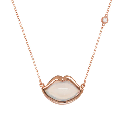 "18"" 'French Kiss' Lip Necklace in Opalite"