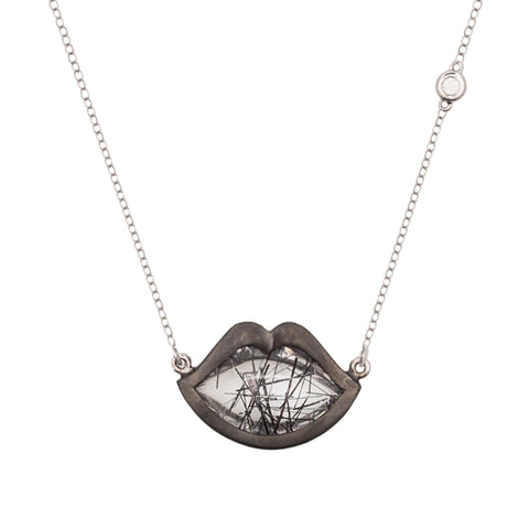 "18"" 'French Kiss' Lip Necklace in Rutilated Quartz"