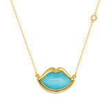 "18"" 'French Kiss' Lip Necklace in Turquoise"