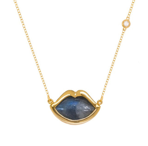 "18"" 'French Kiss' Lip Necklace in Labradorite"