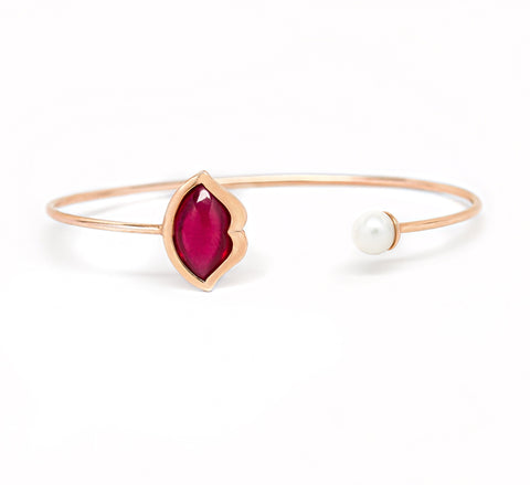 'French Kiss' Lip Bangle in Crimson Ruby + Pearl